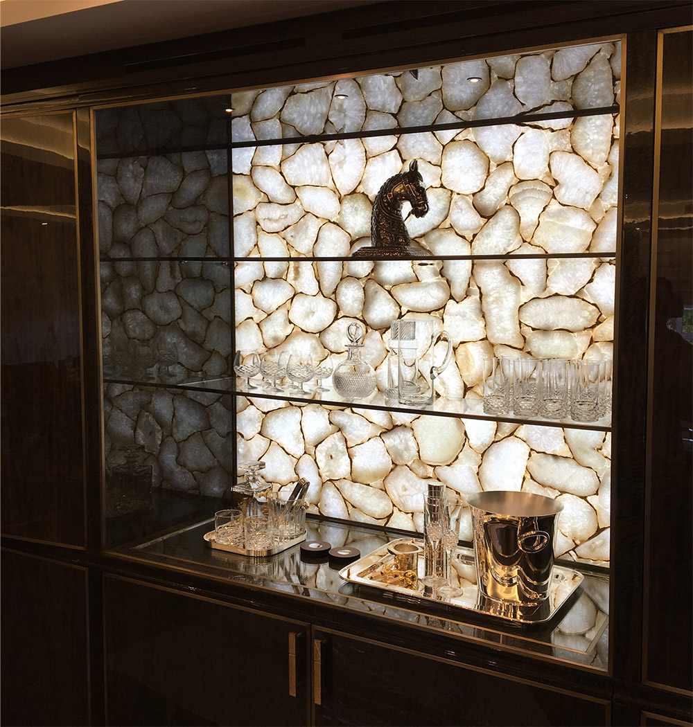 Illuminated Stone Feature Of Exotic Marble Backlit With