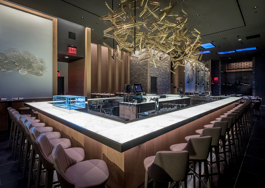 Illuminated Onyx Bar Top Using Stratum Stone At DaDong Restaurant, New York